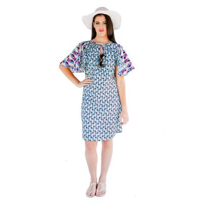 MINI MAXI FLARED SLEEVE DRESS