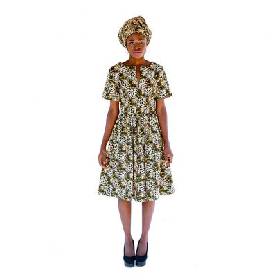 AFRIK MAXI GATHERED DRESS